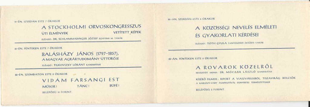 A Társadalom- és Természettudományi Ismeretterjesztő Társulat Szolnok megyei Szervezetének 1958. februári műsora