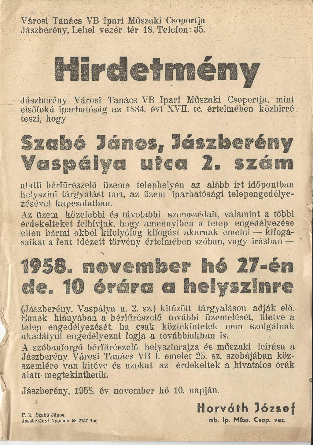 Jászberény Városi Tanács VB Ipari Műszaki Csoportjának hirdetménye