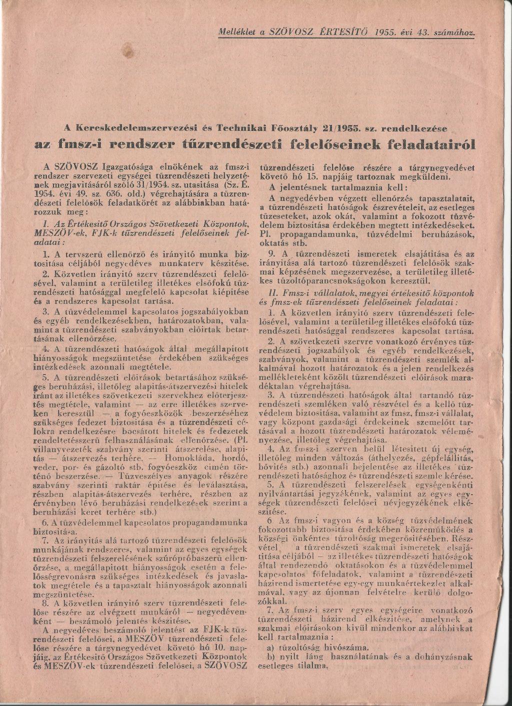 Melléklet a SZÖVOSZ értesítő 1955. évi 43. számához