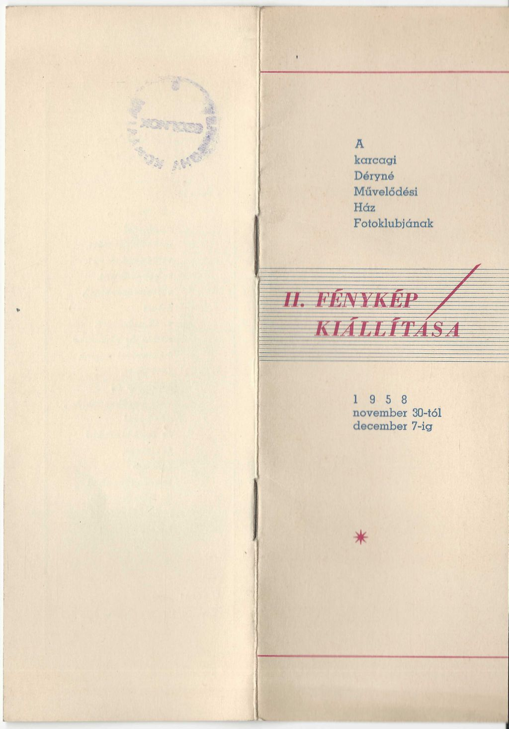 A II. Fényképkiállítás programfüzete 1958. november 30-tól december 7-ig
