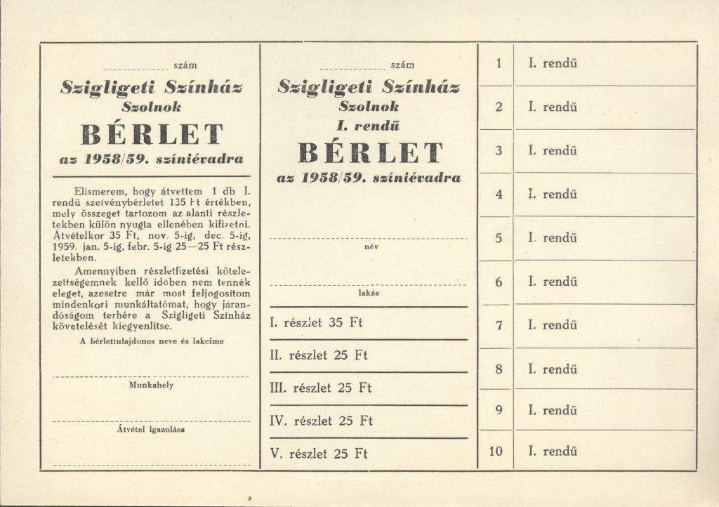 Bérlet a Szigligeti Színház 1958/59. színi évadra