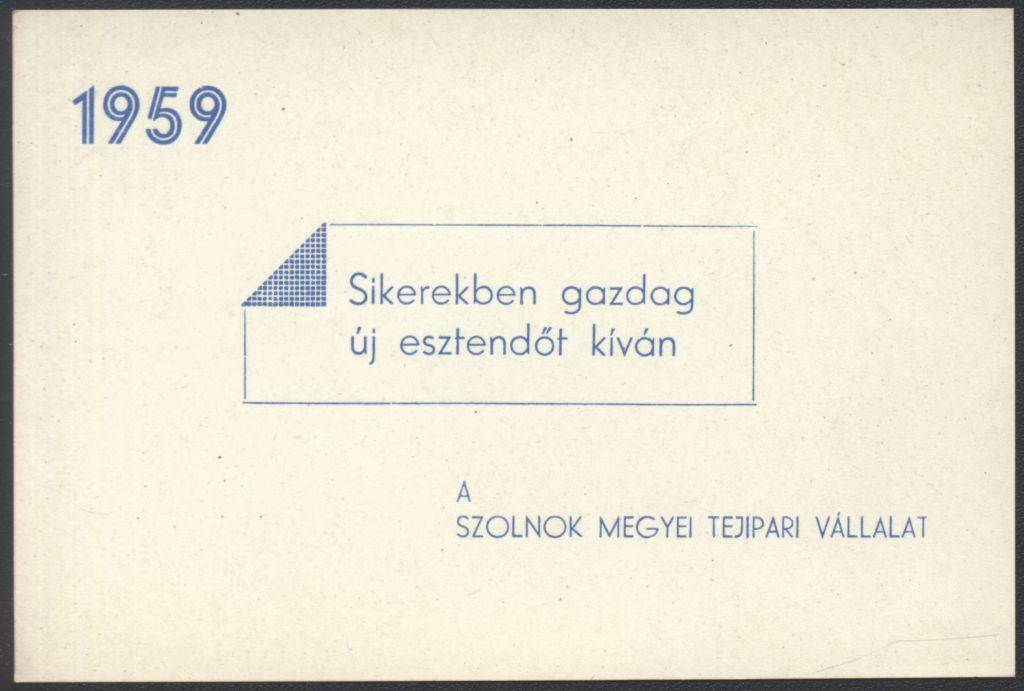 A Szolnok megyei Tejipari Vállalat Újévi köszöntő kártyája