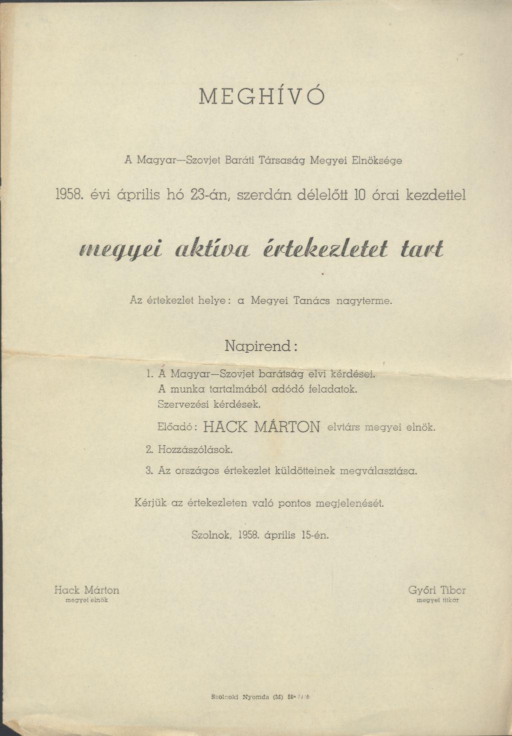 A Magyar-Szovjet Baráti Társaság Megyei Elnöksége megyei aktíva értekezletet tart