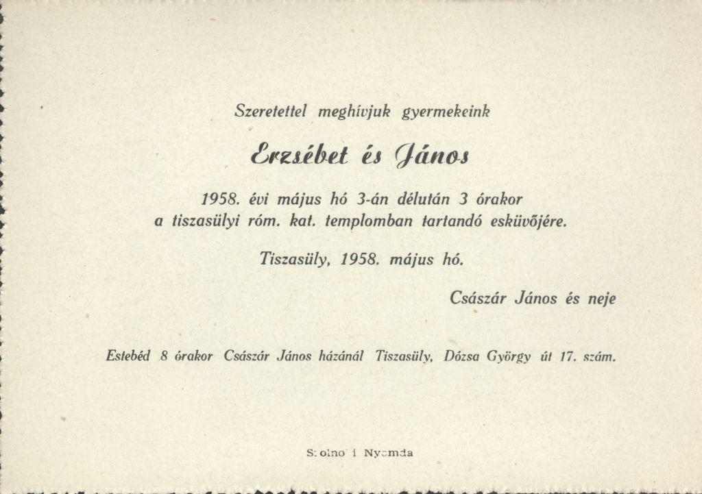 Sike Erzsébet és Császár János esküvői meghívója