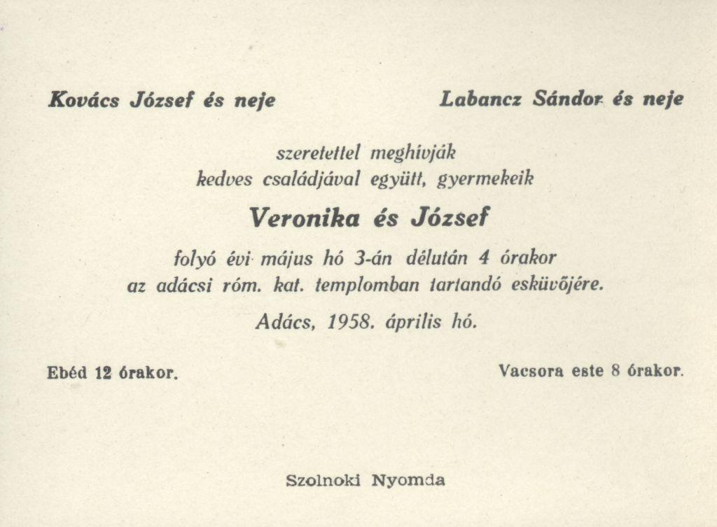 Veronika és József esküvői meghívója