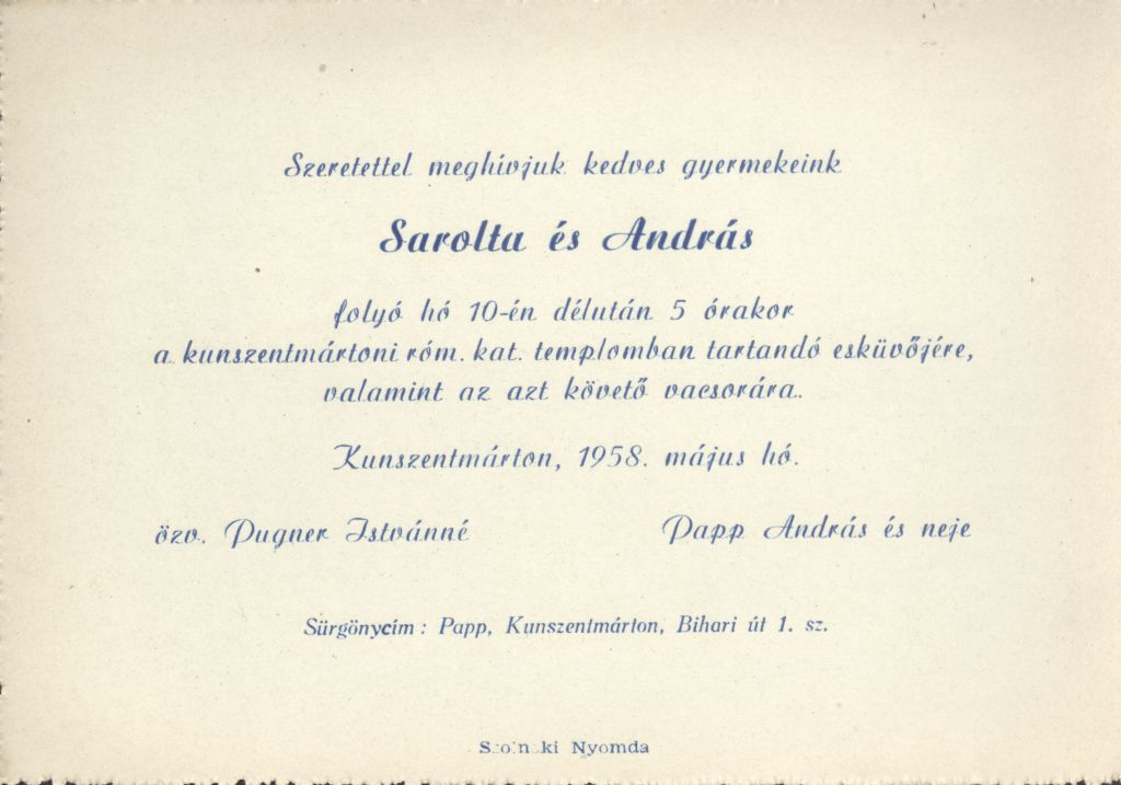 Sarolta és András esküvői meghívója