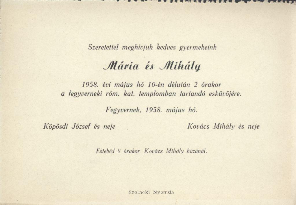 Mária és Mihály esküvői meghívója