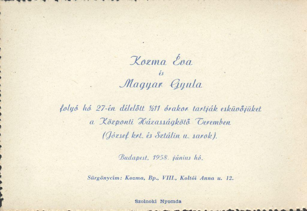 Kozma Éva és Magyar Gyula esküvői meghívója