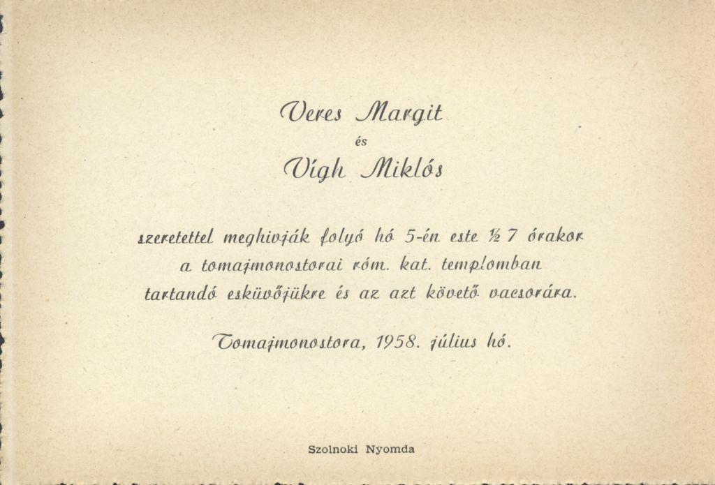 Veres Margit és Vígh Miklós esküvői meghívója