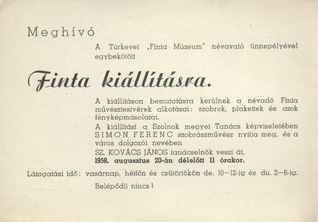 """Meghívó a túrkevei """"Finta Múzeum"""" névavató ünnepségével egybekötött Finta kiállításra"""