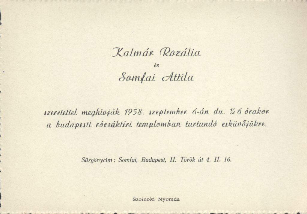Kalmár Rozália és Somfai Attila esküvői meghívója