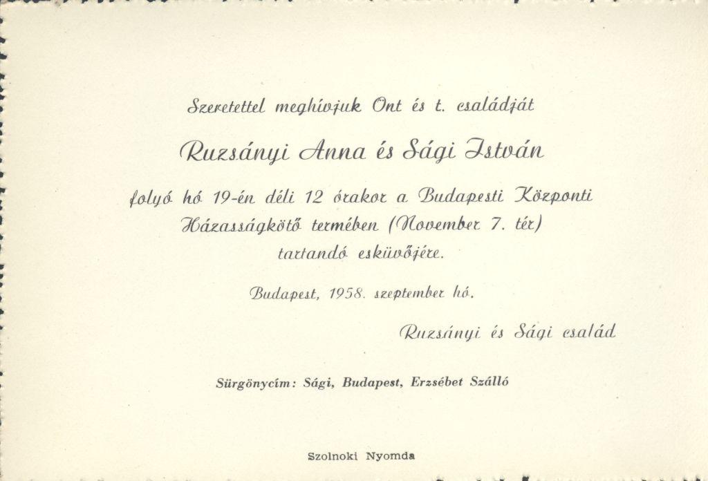 Ruzsányi Anna és Sági István esküvői meghívója
