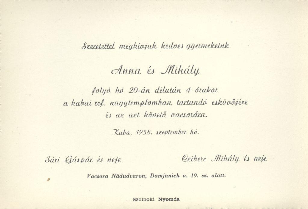 Sári Anna és Czibere Mihály esküvői meghívója