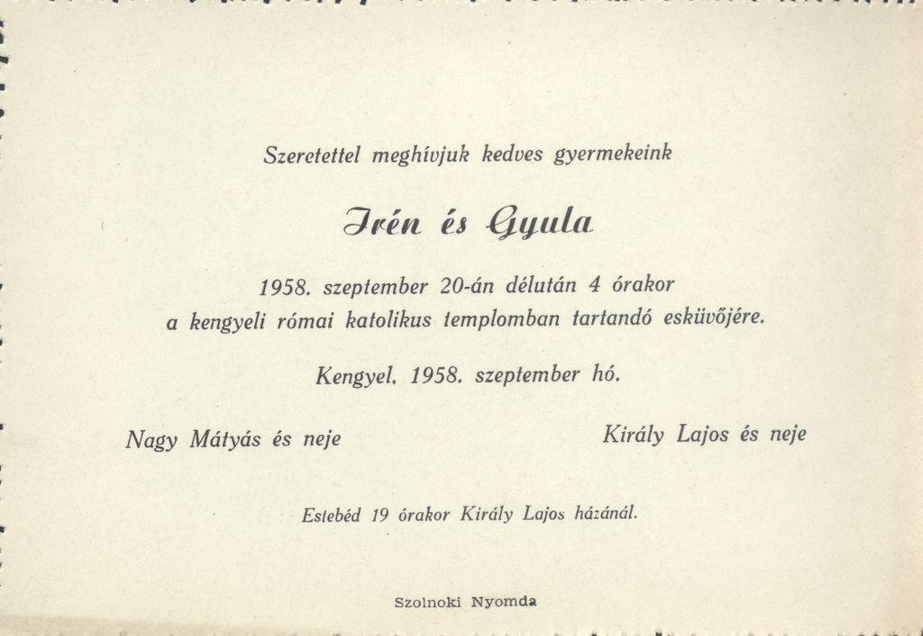 Irén és Gyula esküvői meghívója
