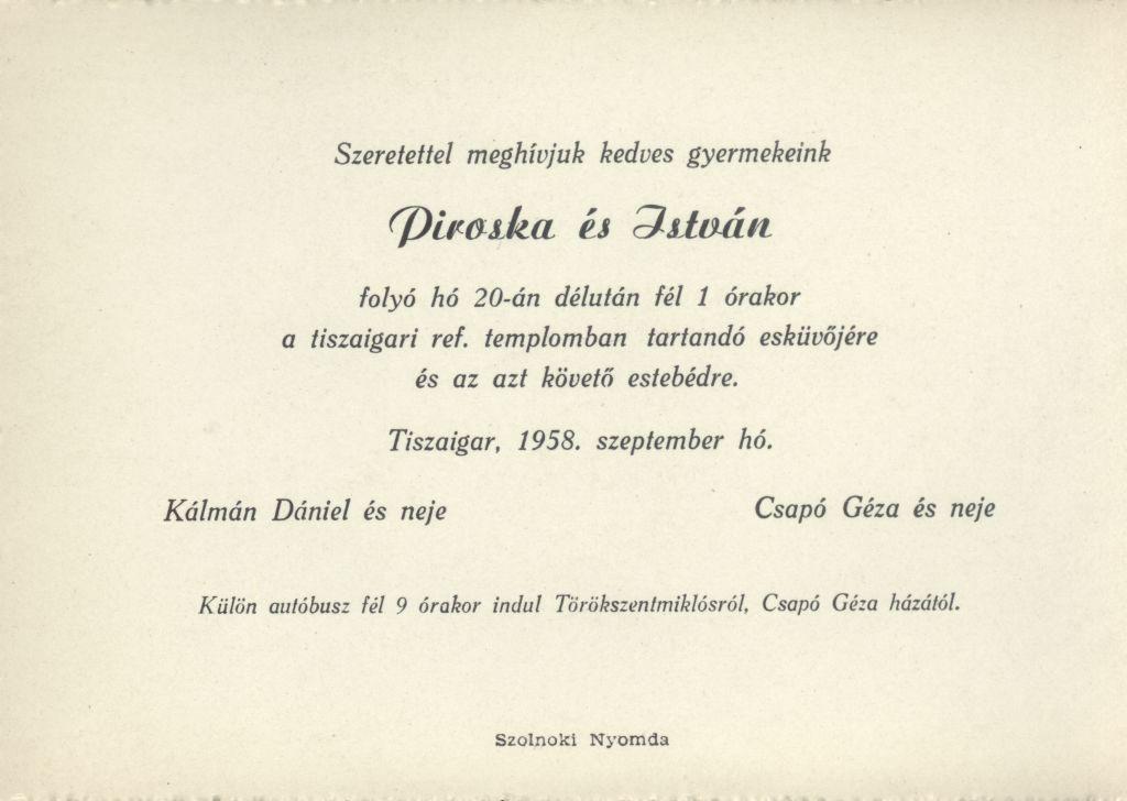 Piroska és István esküvői meghívója