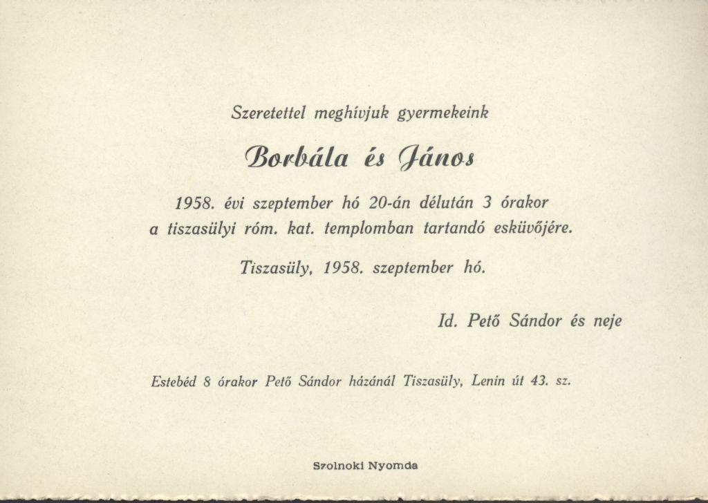 Borbála és János esküvői meghívója