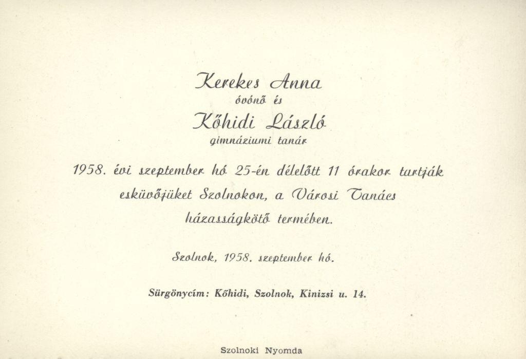 Kerekes Anna és Kőhidi László esküvői meghívója