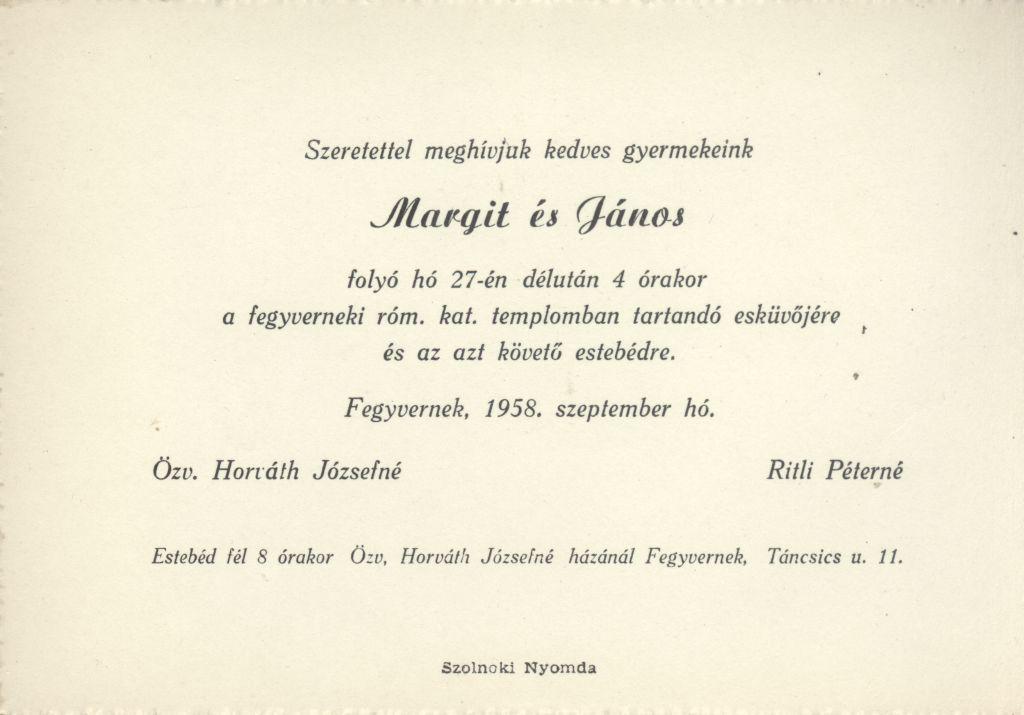 Margit és János esküvői meghívója