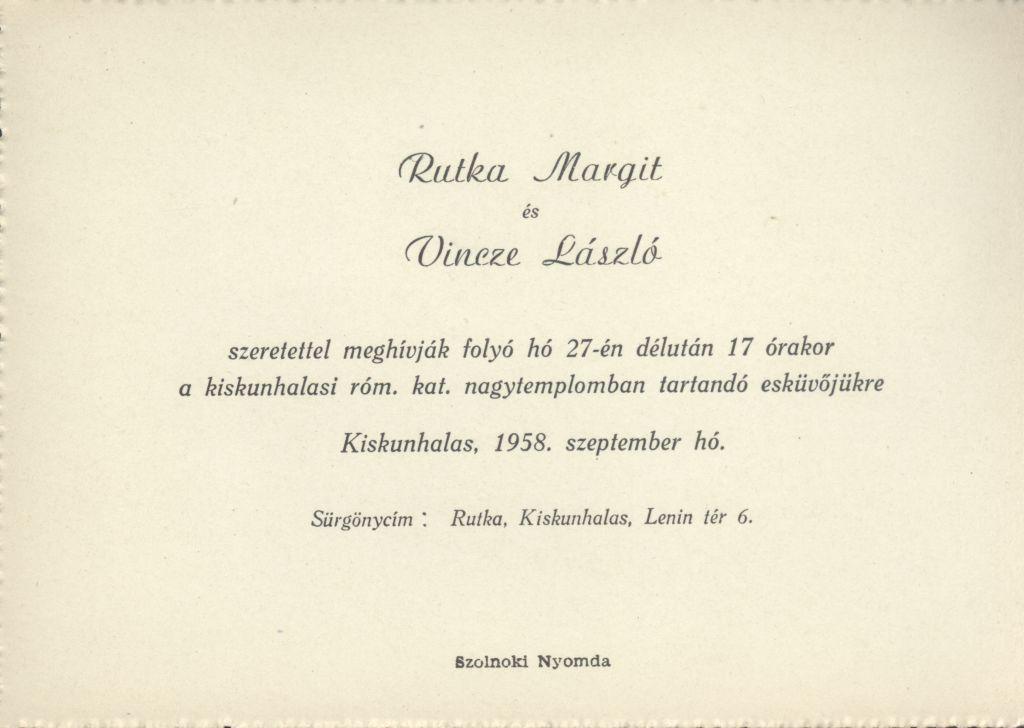 Rutka Margit és Vincze László esküvői meghívója