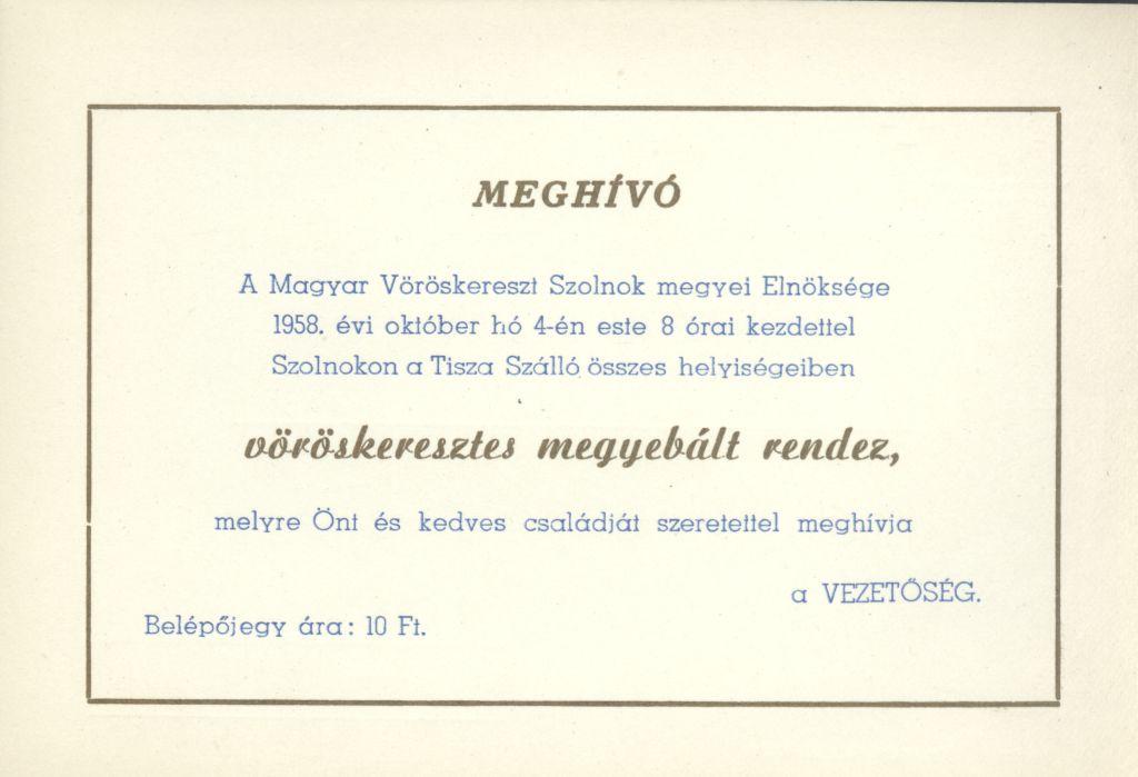 A Magyar Vöröskereszt meghívója vöröskeresztes megyebálra