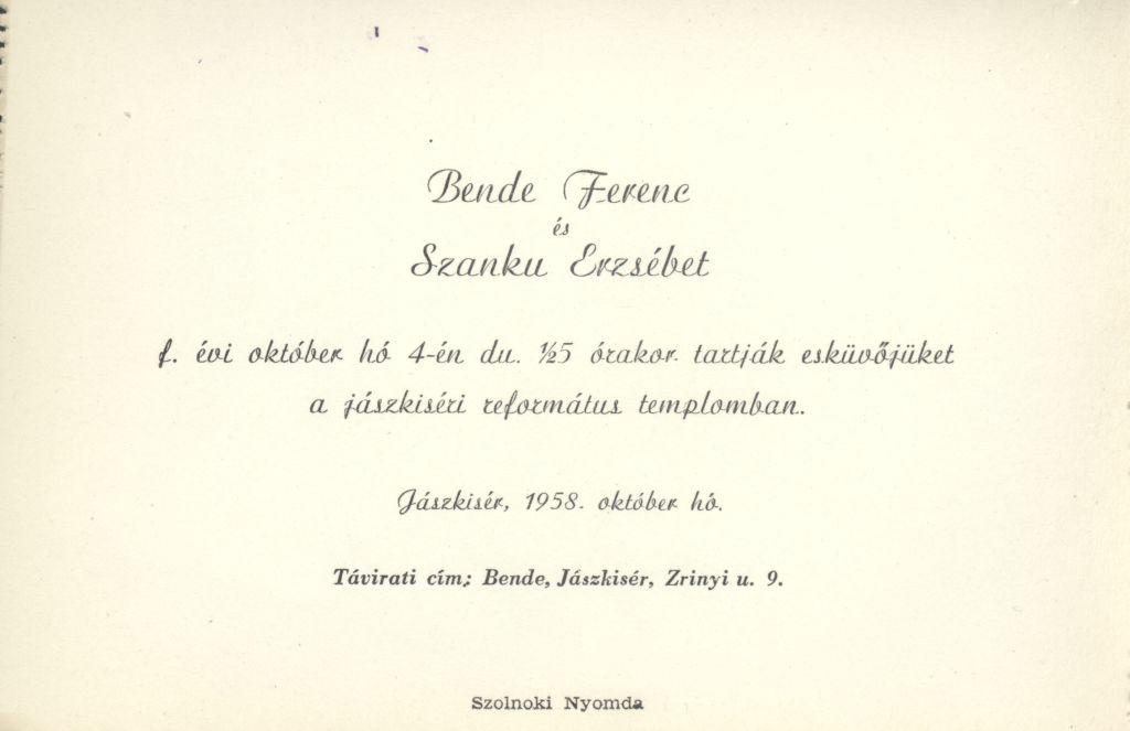 Bende Ferenc és Szanku Erzsébet esküvői meghívója