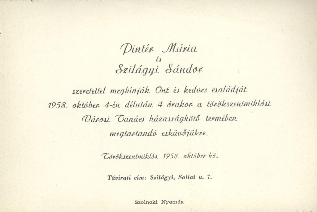 Pintér Mária és Szilágyi Sándor esküvői meghívója