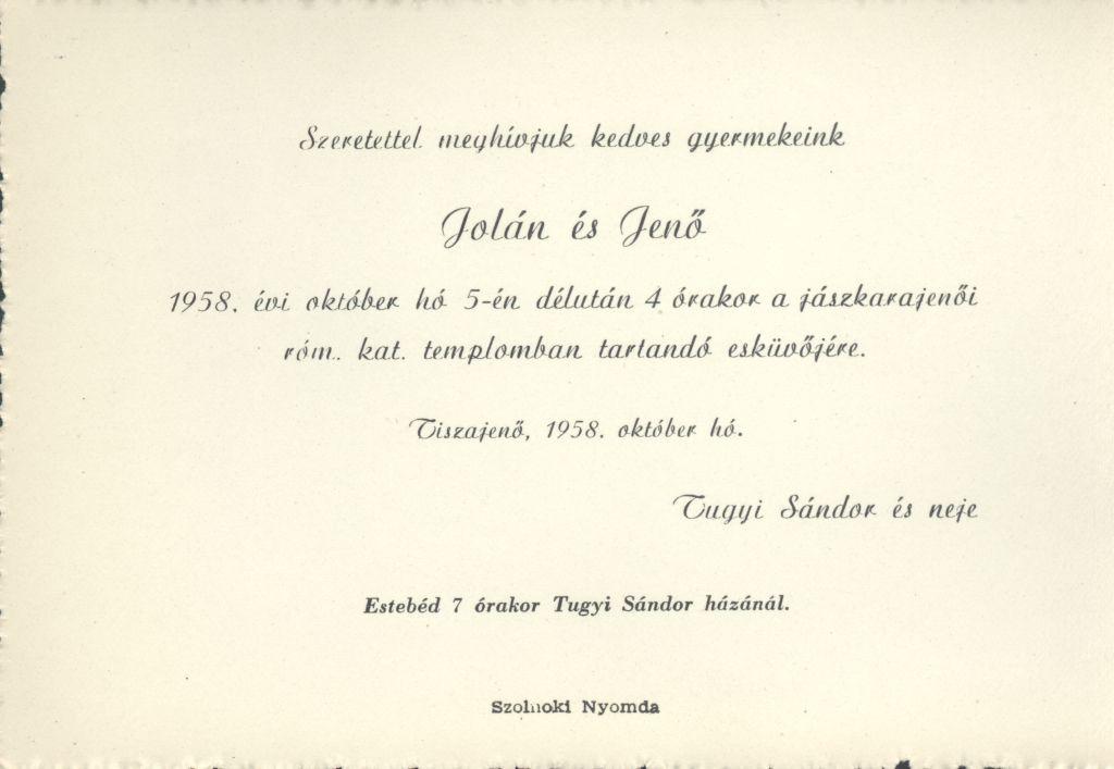 Jolán és Jenő esküvői meghívója
