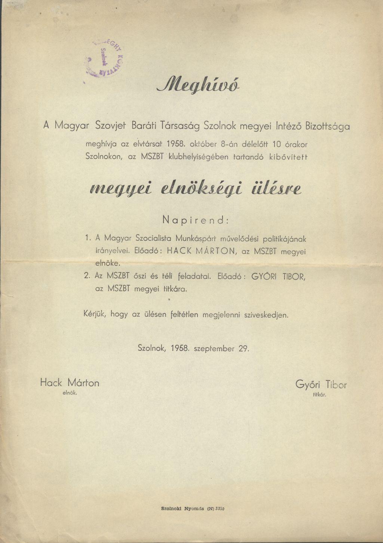 A Magyar-Szovjet Baráti Társaság Szolnok megyei Intéző Bizottságának megyei elnökségi ülése