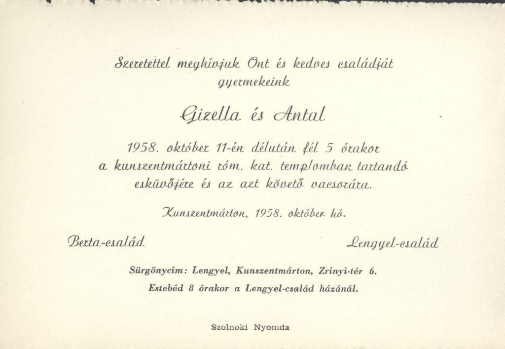 Gizella és Antal esküvői meghívója
