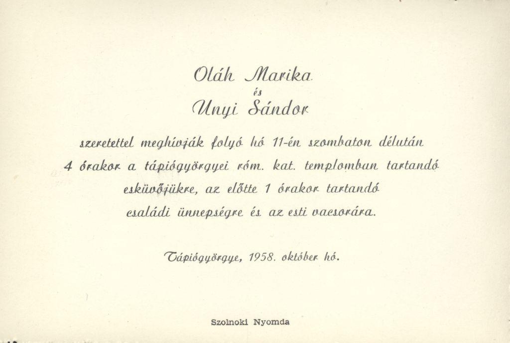Oláh Marika és Unyi Sándor esküvői meghívója