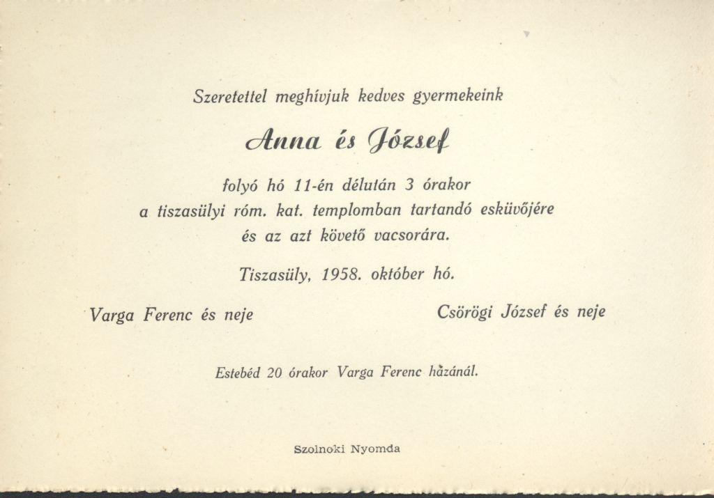 Varga Anna és Csörögi József esküvői meghívója