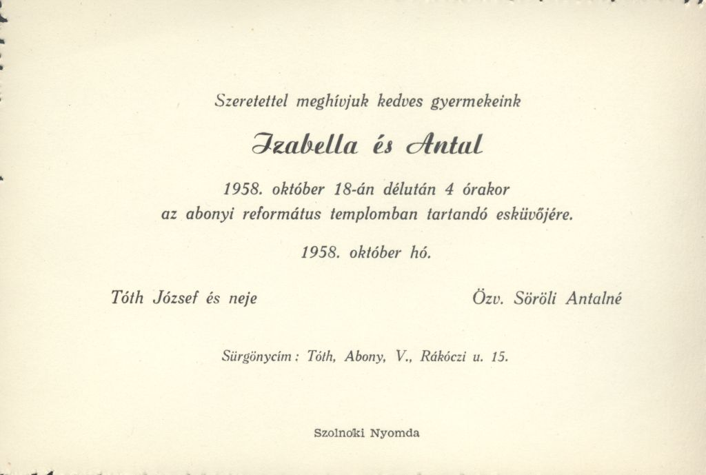 Tóth Izabella és Söröli Antal esküvői meghívója