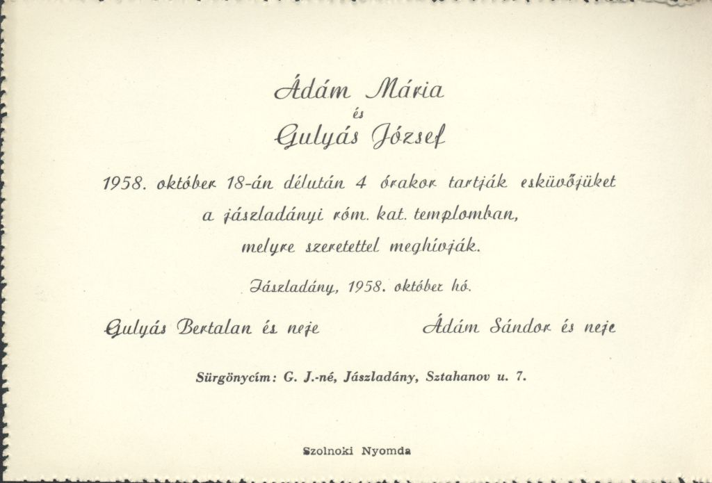 Ádám Mária és Gulyás József esküvői meghívója