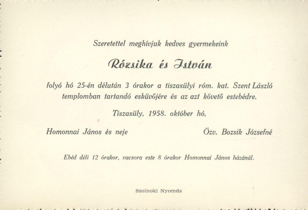 Rózsika és István esküvői meghívója