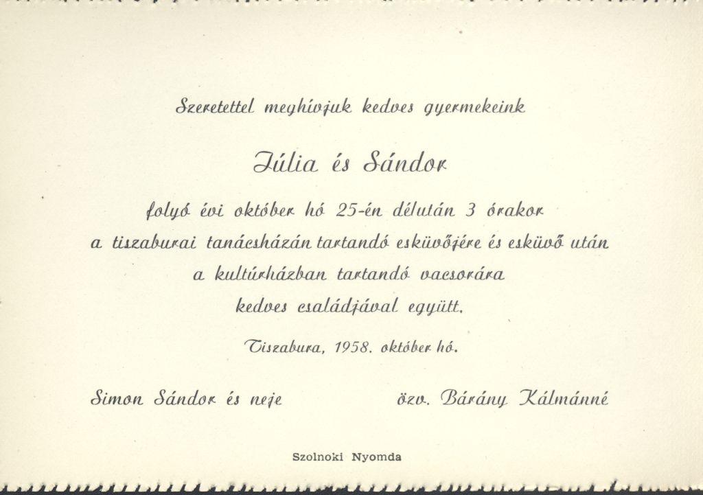 Júlia és Sándor esküvői meghívója