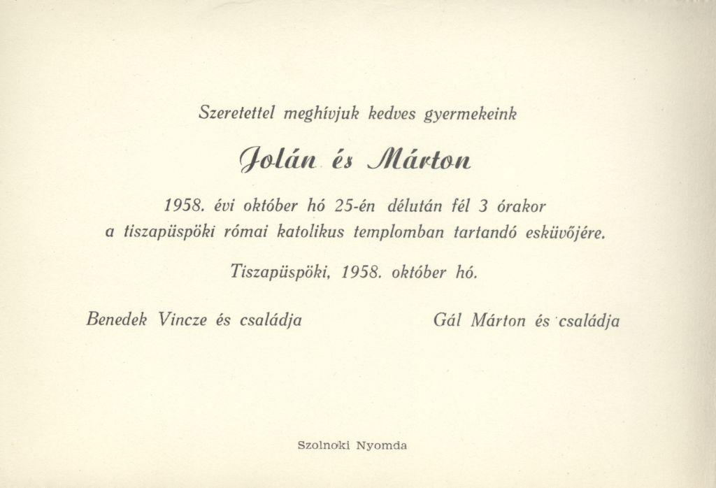 Jolán és Márton esküvői meghívója