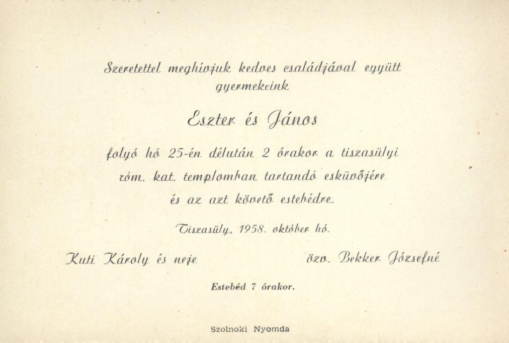 Eszter és János esküvői meghívója