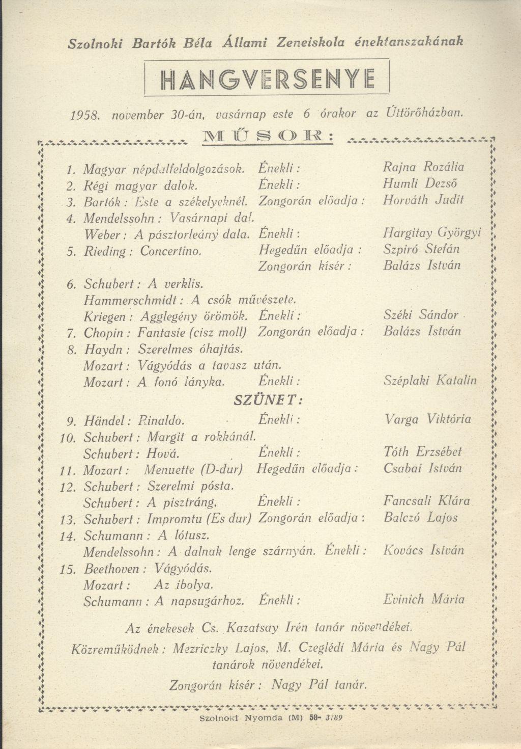 Szolnoki Bartók Béla Állami Zeneiskola énektanszakának hangversenye