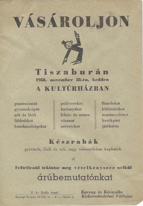 Árubemutató Tiszaburán a Kultúrházban