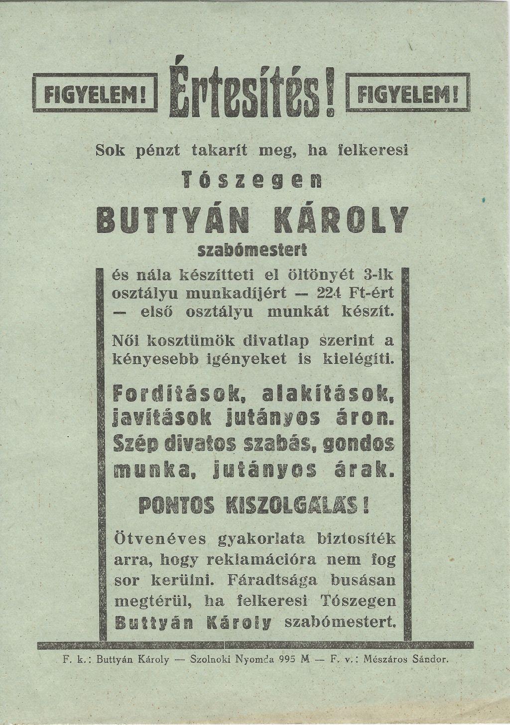 Buttyán Károly szabómester