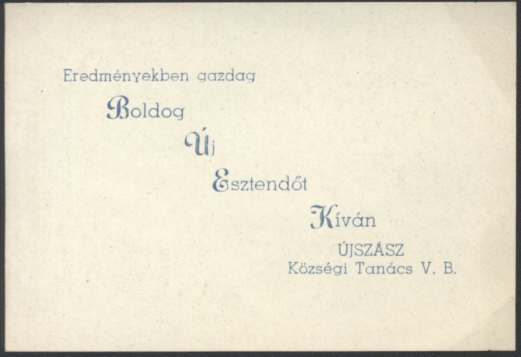 Az újszászi Községi Tanács V. B. Újévi köszöntő kártyája