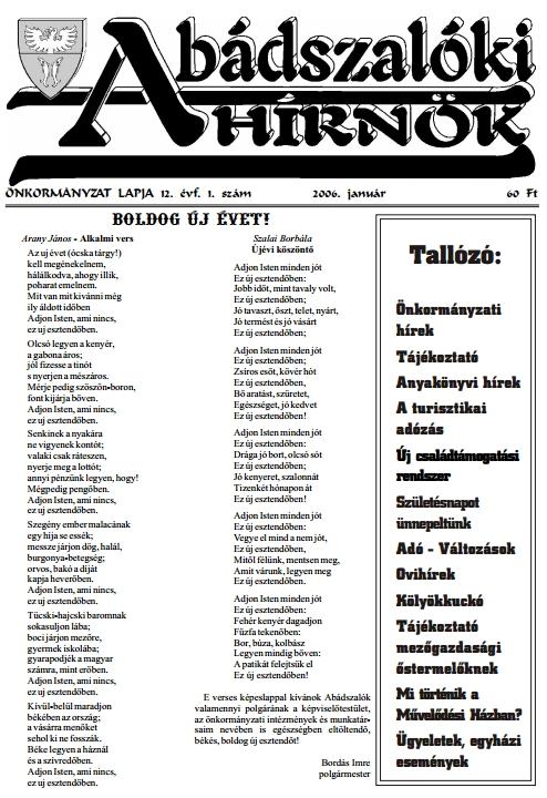 Abádszalóki Hírnök - 2006
