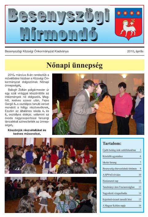 Besenyszögi Hírmondó címlapja