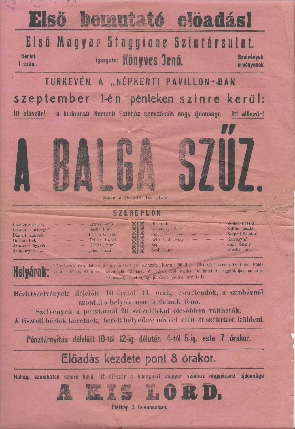 Henry Bataille: A Balga Szűz bemutatója Túrkevén 1944. szeptember 1-én.