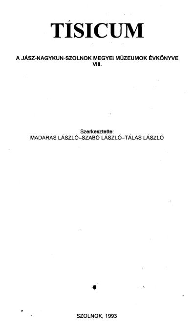 Szolnok megyei múzeumi évkönyv, 1973
