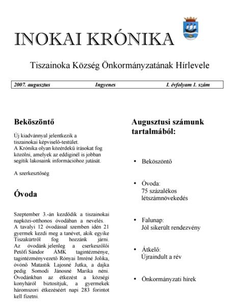 Inokai krónika címlapja