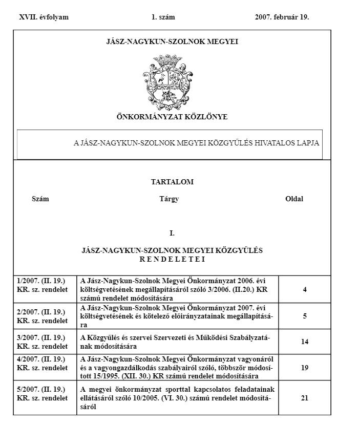 Önkormányzati közlöny címlapja