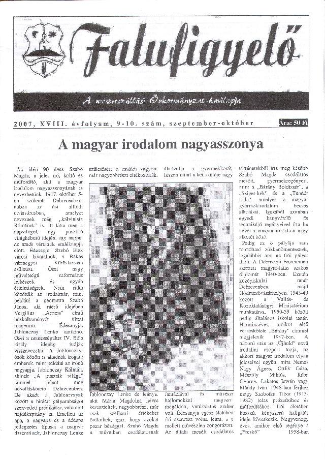 Falufigyelő címlapja
