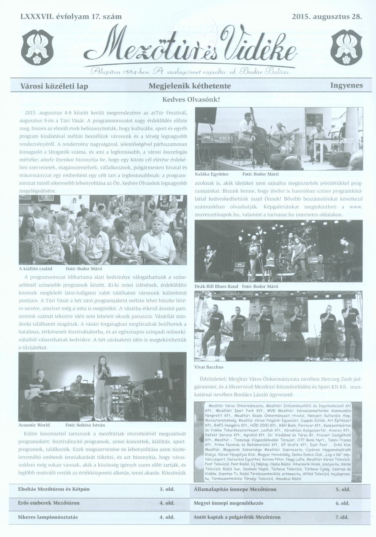 Mezőtúr és Vidéke címlap