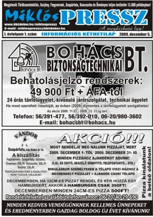 Miklós Press címlapja